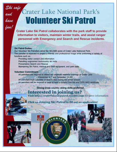 Crater Lake NP Ski Patrol Volunteer Opportunities - Oregon